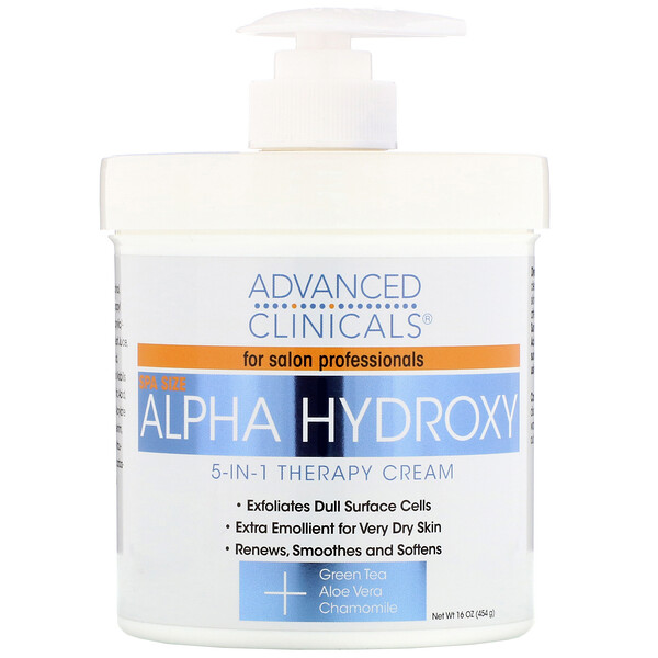 Advanced Clinicals, Alpha Hydroxy, 5-in-1 Therapy Cream, 16 oz (454 g) (Discontinued Item)