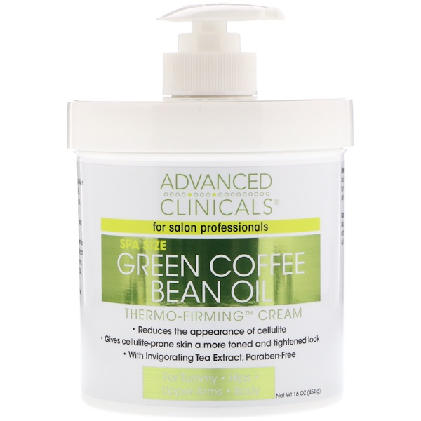 Advanced Clinicals, زيت حبوب القهوة الخضراء، كريم التثبيت بالحرارة، 16 أوقية (454 غ)