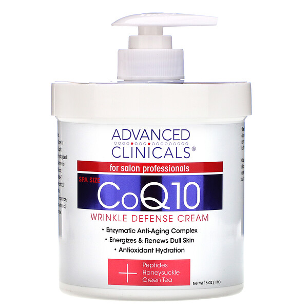 Advanced Clinicals, CoQ10, Wrinkle Defense Cream, 16 oz (454 g)