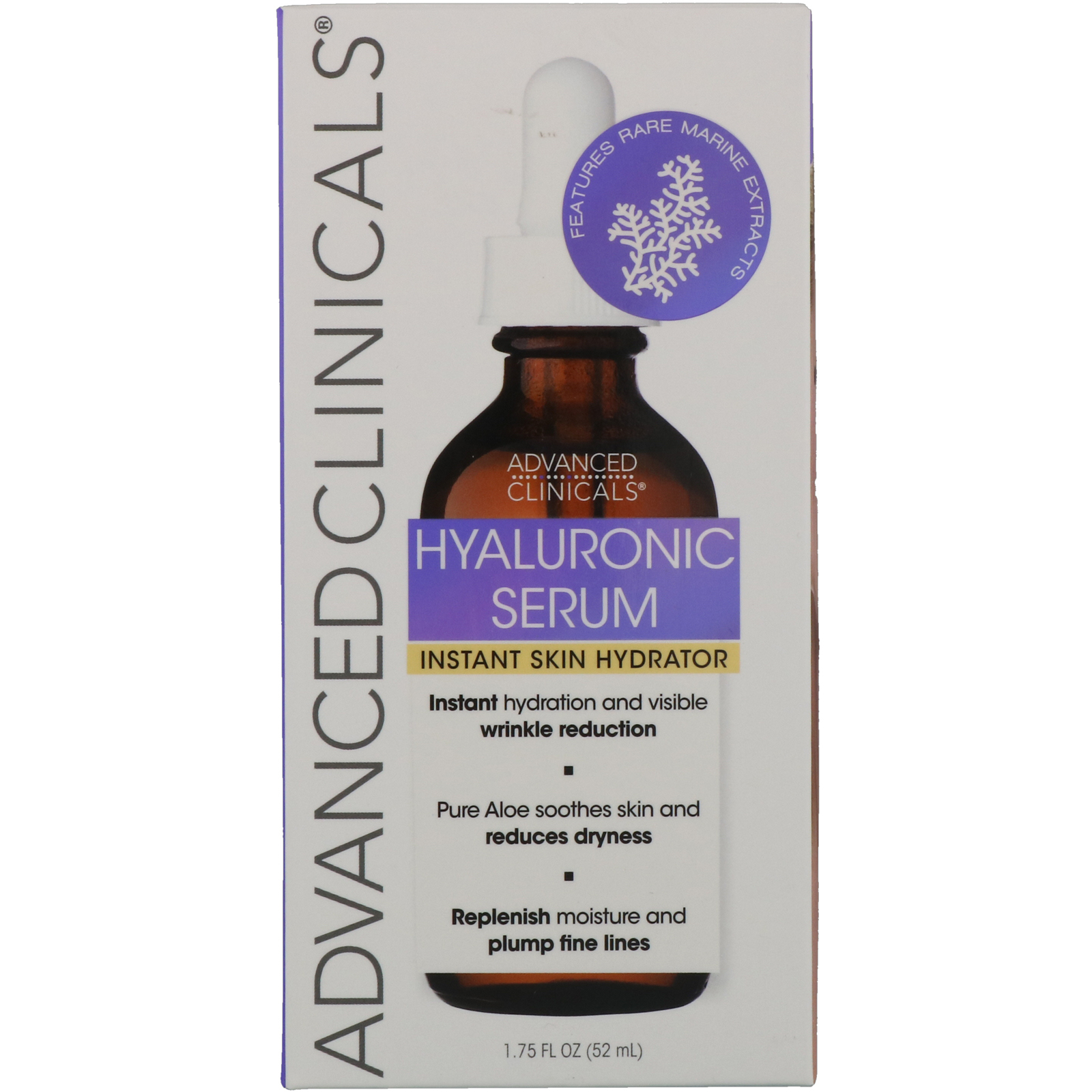 Advanced Clinicals, Hyaluronic Serum, Instant Skin Hydrator, 1 75 fl oz (52  ml)