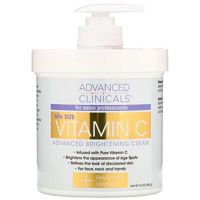 Купить Advanced Clinicals Осветляющий крем Advanced с витамином C, 16 унций (454 г)