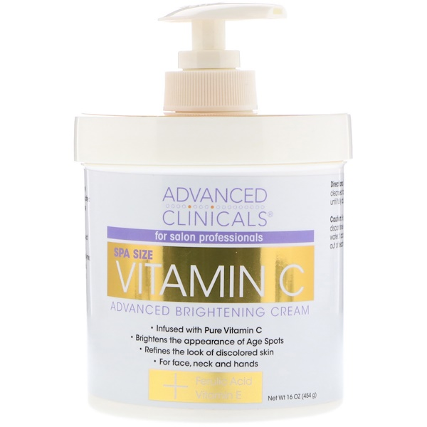 Advanced Clinicals, Vitamin C Advanced Brightening Cream, 16 oz (454 g)