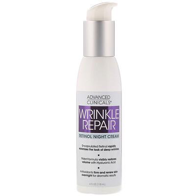Advanced Clinicals Wrinkle Repair, Retinol Night Cream, 4 fl oz (118 ml)