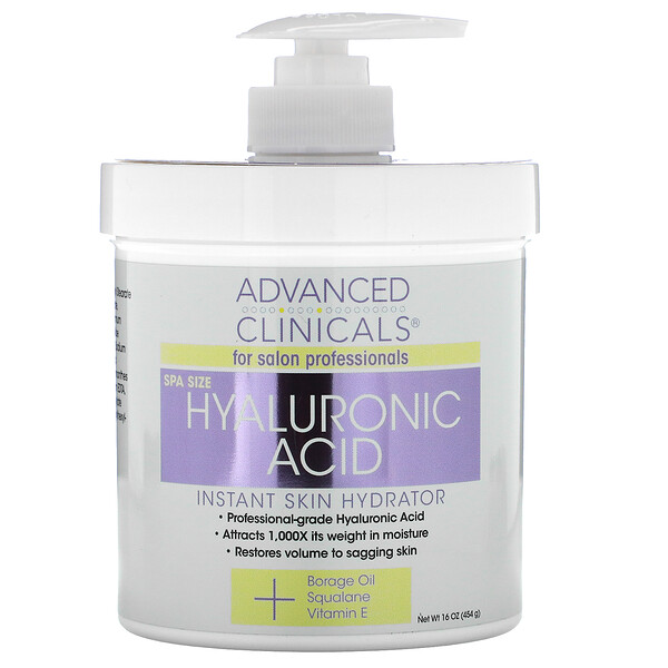Advanced Clinicals, Hyaluronic Acid, Instant Skin Hydrator, 16 oz (454 g)
