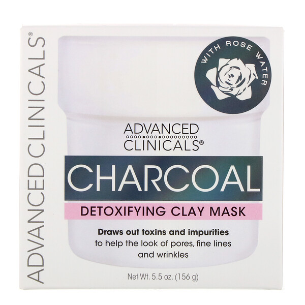 品牌從A - ZAdvanced Clinicals類別美容面膜 & 去黑頭面膜泥土面膜:Advanced Clinicals, Charcoal, Detoxifying Clay Mask, 5、5 oz (156 g)