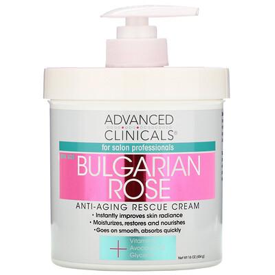 Advanced Clinicals Anti-Aging Rescue Cream, Bulgarian Rose, 16 oz (454 g)