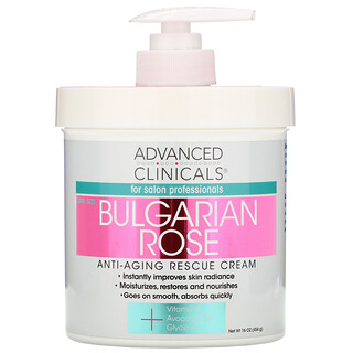 Advanced Clinicals, Anti-Aging Rescue Cream, Bulgarian Rose, 16 oz (454 g)