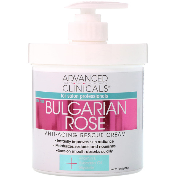 Advanced Clinicals, Anti-Aging Rescue Cream, Bulgarian Rose, 16 oz (454 g)