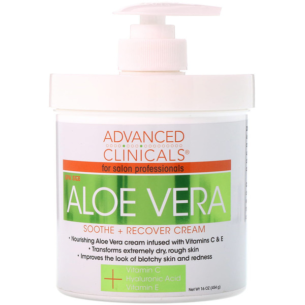 Advanced Clinicals, Aloe Vera, Soothe + Recover Cream, 16 oz (454 g)