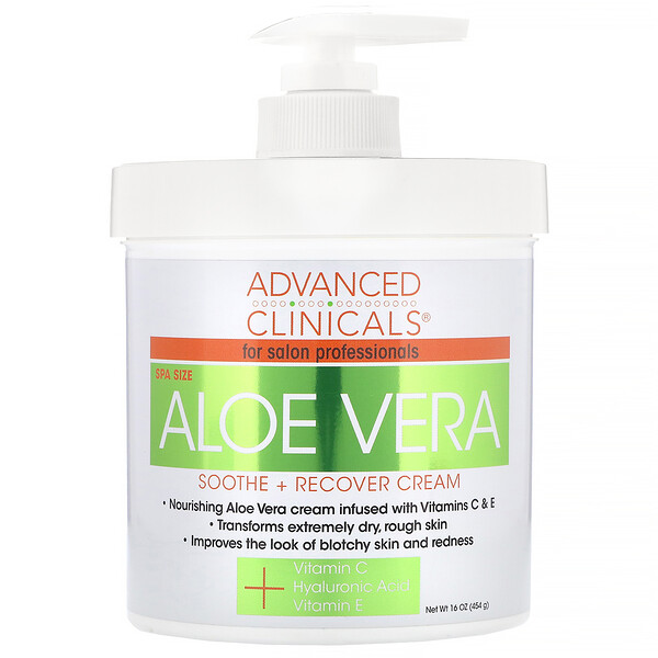 Advanced Clinicals, Soothe + Recover Cream, Aloe Vera, 16 oz (454 g)