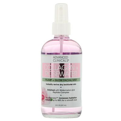 Купить Advanced Clinicals Collagen + Rosewater, Pump + Glow Facial Mist, 8 fl oz (237 ml)