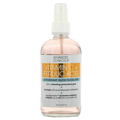 Купить Advanced Clinicals Vitamin C + Ferulic Acid, Antioxidant Glow Facial Mist, 8 fl oz (237 ml)