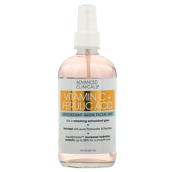 Advanced Clinicals, Vitamin C + Ferulic Acid, Antioxidant Glow Facial Mist, 8 fl oz (237 ml)