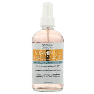 Advanced Clinicals, Vitamin C + Ferulic Acid, Antioxidant Glow Facial Mist, 8 fl oz (237 ml) отзывы покупателей