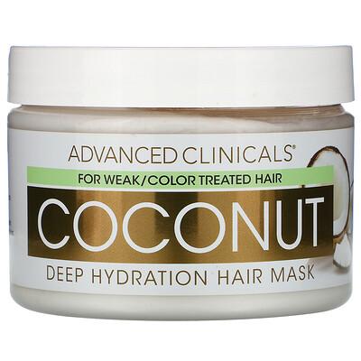 Купить Advanced Clinicals Coconut, Deep Hydration Hair Mask, 12 oz (340 g)