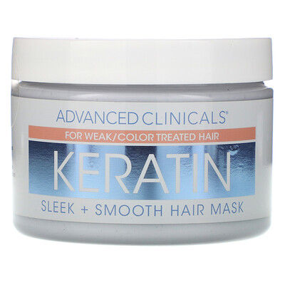 Купить Advanced Clinicals Keratin, Sleek + Smooth Hair Mask, 12 oz (340 g)