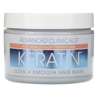 Advanced Clinicals, ケラチン、スリーク+スムースヘアマスク、340g(12オンス)