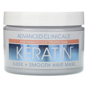 Advanced Clinicals, Keratin,  Sleek + Smooth Hair Mask,  12 oz (340 g) отзывы