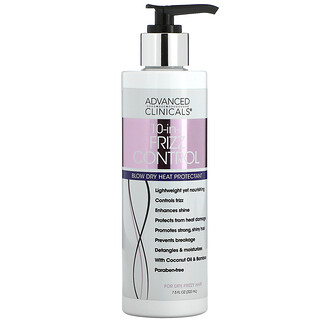 Advanced Clinicals, 10-In-1 Frizz Control, Blow Dry Heat Protectant, 7.5 fl oz (222 ml)