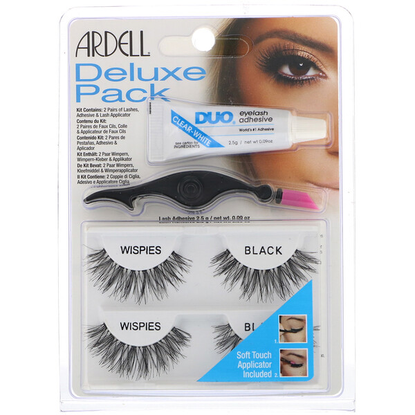 Deluxe Pack, Wispies Lashes with Applicator and Eyelash Adhesive, 1 Set