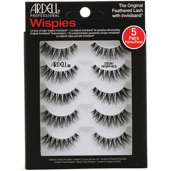 Ardell, Wispies, pestañas postizas originales con tira invisible, 5 pares