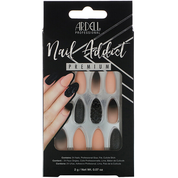 Ardell, Nail Addict Premium, Black Stud & Pink Ombre, 0.07 oz (2 g)