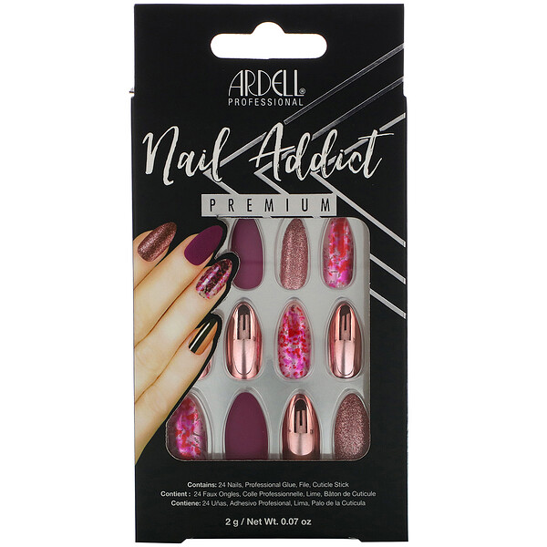 Ardell, Nail Addict Premium, Chrome Pink Foil, 0.07 oz (2 g)