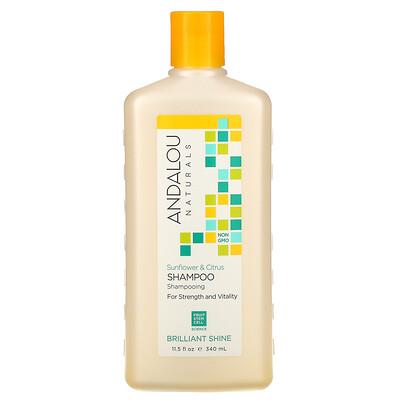 Купить Andalou Naturals Shampoo, Brilliant Shine, For Strength and Vitality, Sunflower & Citrus, 11.5 fl oz (340 ml)