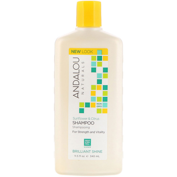 Andalou Naturals, Shampoo, Brilliant Shine, For Strength and Vitality, Sunflower & Citrus, 11.5  fl oz (340 ml)