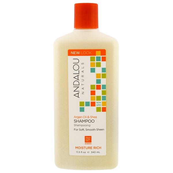 Andalou Naturals, シャンプー、ソフトでなめらかな髪に、モイスチャーリッチ、アルガンオイルとシア、11.5 fl oz (340 ml)