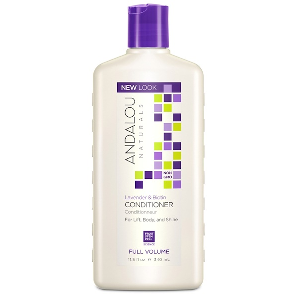 Andalou Naturals, コンディショナー、フルボリューム、ボリュームと輝きのある髪のために、ラベンダー & ビオチン、11.5 fl oz (340 ml)