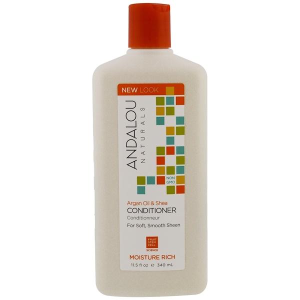 Andalou Naturals, コンディショナー、モイスチャーリッチ、ソフトでスムーズな輝きに、アルガンオイルとシア、11.5 fl oz (340 ml)
