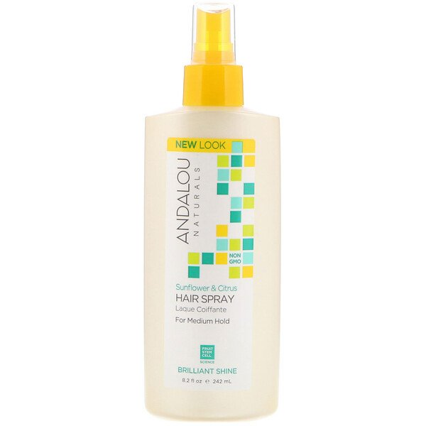 Andalou Naturals, Hair Spray, Brilliant Shine, Sunflower & Citrus, Medium Hold, 8.2 fl oz (242 ml)