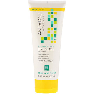 Andalou Naturals, Styling Gel, Brilliant Shine, Medium Hold, Sunflower & Citrus, 6.8 fl oz (200 ml)