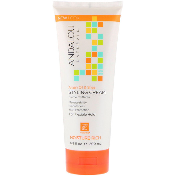 Andalou Naturals, Styling Cream, Argan Oil and Shea, Moisture Rich, 6.8 fl oz (200 ml)