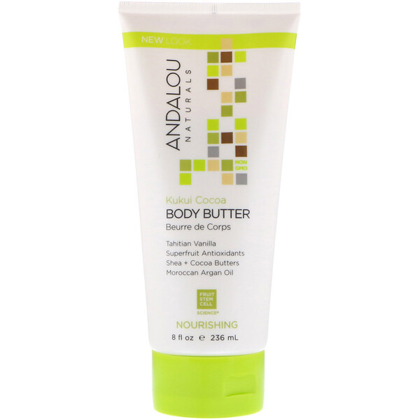 Andalou Naturals, Body Butter, Nourishing, Kukui Cocoa, 8 fl oz (236 ml)