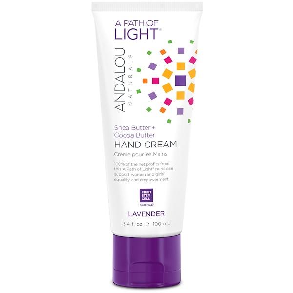 Andalou Naturals, A Path of Light, Shea Butter + Cocoa Butter Hand Cream, Lavender, 3.4 fl oz (100 ml)