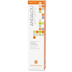 Andalou Naturals, Сливочное чистящее средство, лимон Мейера + витамин C, осветляющее, 6 ж. унц. (178 мл) инструкция, применение, состав, противопоказания