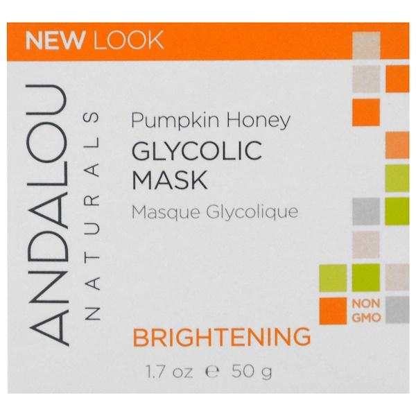 Andalou Naturals, Гликолевая маска, с тыквой и медом, осветляющая, 1.7 жидких унций (50 мл)
