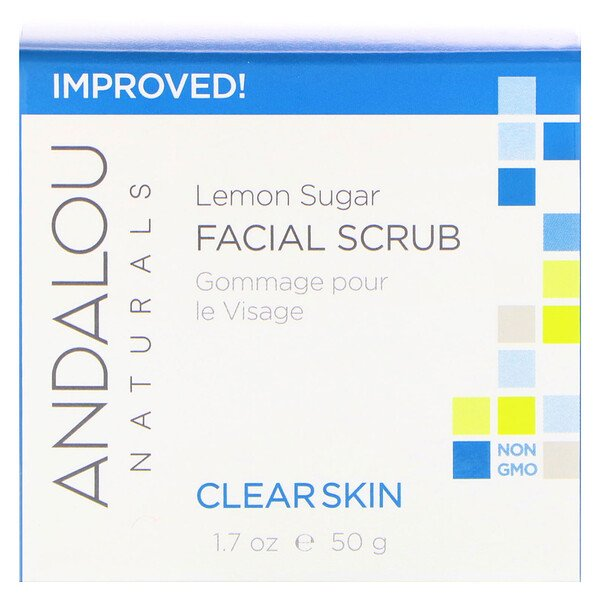Andalou Naturals, Facial Scrub, Lemon Sugar, Clarifying, 1.7 fl oz (50 ml)