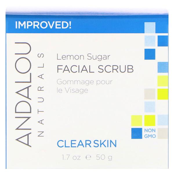 品牌從A - ZAndalou Naturals類別美容清洗,色調& 去角質去角質和磨砂膏:Andalou Naturals, 天然磨砂膏,檸檬香型,1、7液體盎司(50毫升)
