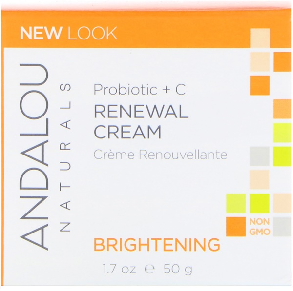 Andalou Naturals, Renewal Cream, Probiotic + C, Brightening, 1.7 fl oz (50 ml)