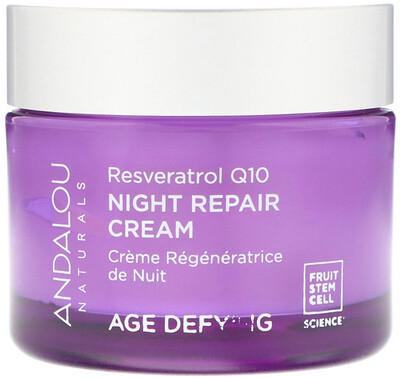 Купить Andalou Naturals Ночной восстанавливающий крем, Ресвератрол Q10, против старения, 50 мл