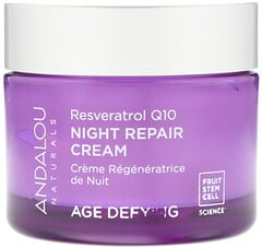 Andalou Naturals, 晚間修護乳霜,白藜蘆醇Q10,逆齡,1.7液體盎司(50毫升)