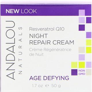 Andalou Naturals, Crème réparatrice de nuit, Resveratrol Q10, anti-âge, 1.7 oz (50 ml)