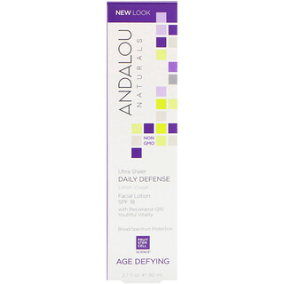 Andalou Naturals, Facial Lotion, Ultra Sheer Daily Defense, SPF 18, Age Defying, 2.7 fl oz (80 ml)