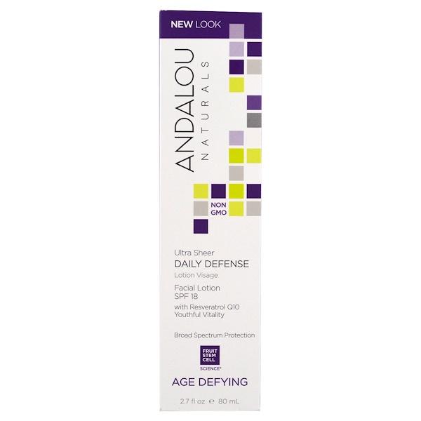 Andalou Naturals, Age Defying, Ultra Sheer Daily Defense, Facial Lotion, SPF 18, 2.7 fl oz (80 ml)