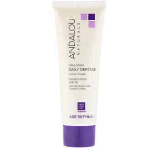 Андалу Натуралс, Facial Lotion, Ultra Sheer Daily Defense, SPF 18, Age Defying, 2.7 fl oz (80 ml) отзывы покупателей