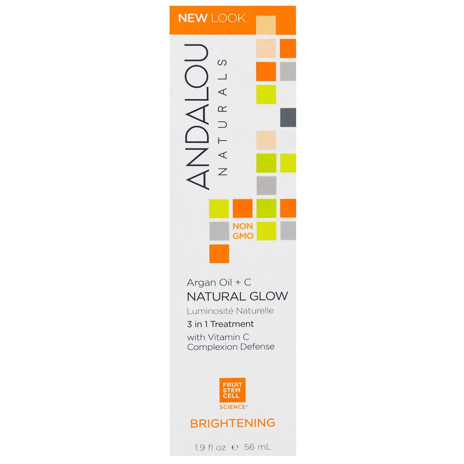 Andalou Naturals, Естественное свечение, 3 в 1 Лечение, Аргана масло + C, осветление, 1,9 жидких унций (56 мл)