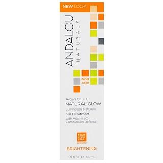 Andalou Naturals, Natural Glow、3 in 1 Treatment、Argan Oil + C, Brightening、1.9 fl oz (56 ml)